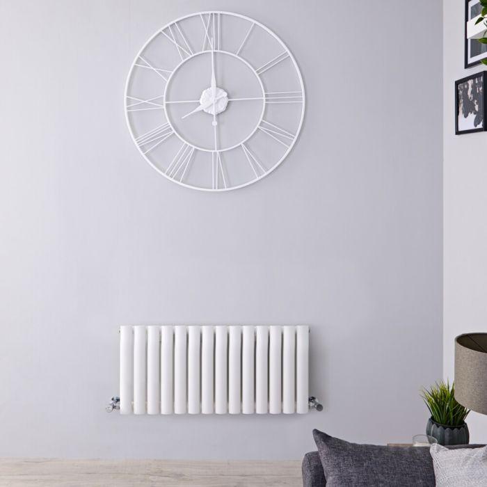 Radiatore di Design Orizzontale - Bianco - 400mm x 834mm x 56mm - 634 Watt - Revive