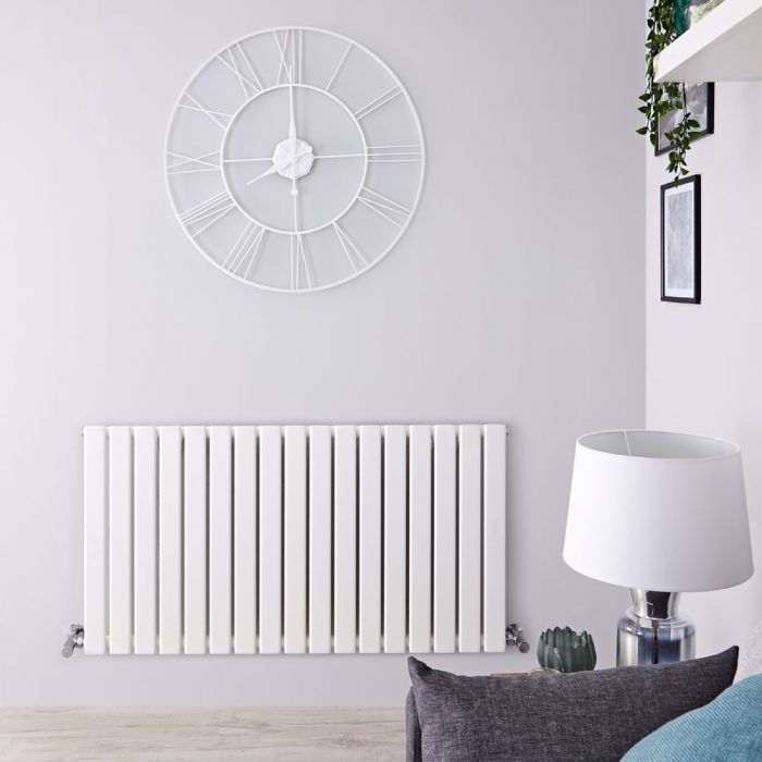 Radiatore di Design Orizzontale - Bianco - 635mm x 1190mm x 46mm - 1064 Watt - Delta
