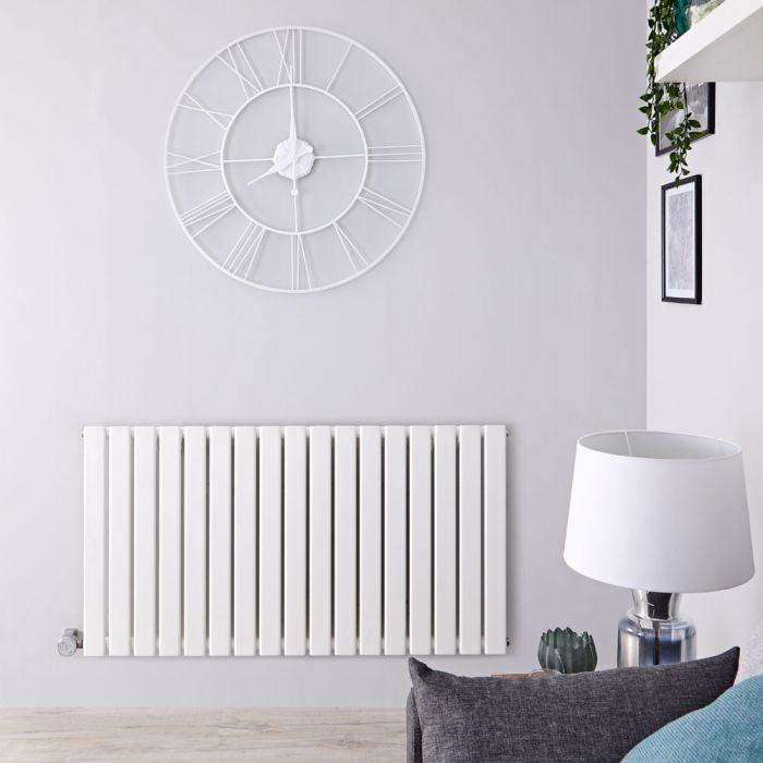 Radiatore di Design Elettrico Orizzontale - Bianco - 635mm x 1190mm x 46mm  - Elemento Termostatico 1000W  - Delta