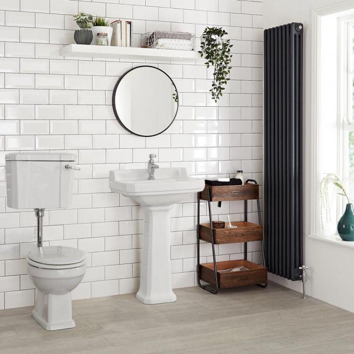 Sanitario con Vaso Tradizionale Cassetta Bassa in Ceramica Sedile e Copri WC - Richmond