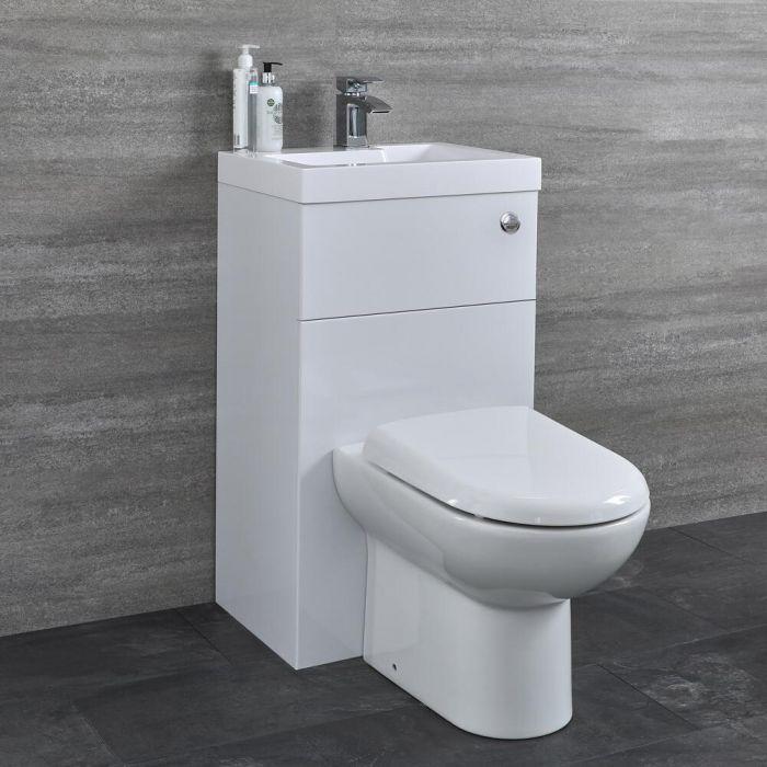 Set Bagno Completo di Lavabo e Sanitario Integrato Minimalist Colore Bianco