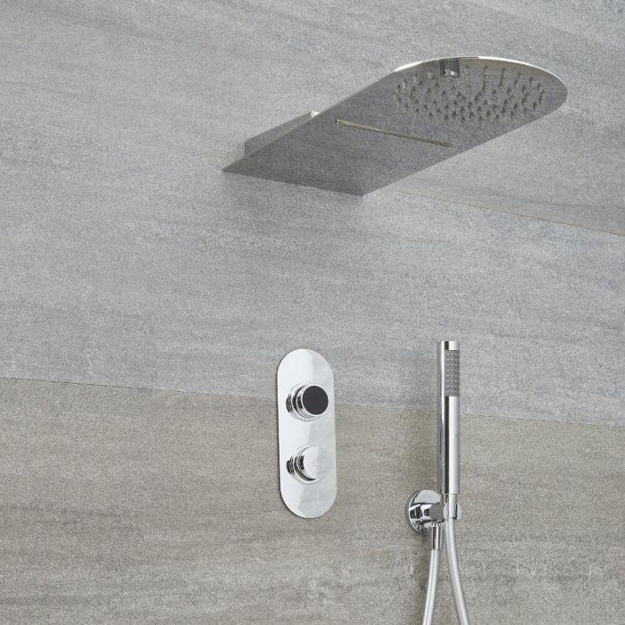 Doccia Digitale con Sistema di Controllo a 3 Vie con Doccetta, Soffione Effetto a Pioggia e Cascata - Narus