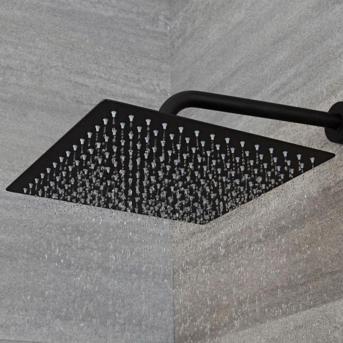 Soffione Doccia Quadrato Nero 300x300mm Acciaio Inox - Nox