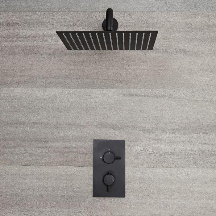 Miscelatore Doccia ad Incasso Nero ad 1 Via Completo di Soffione Doccia Quadrato 300x300mm e Braccio Doccia - Nox