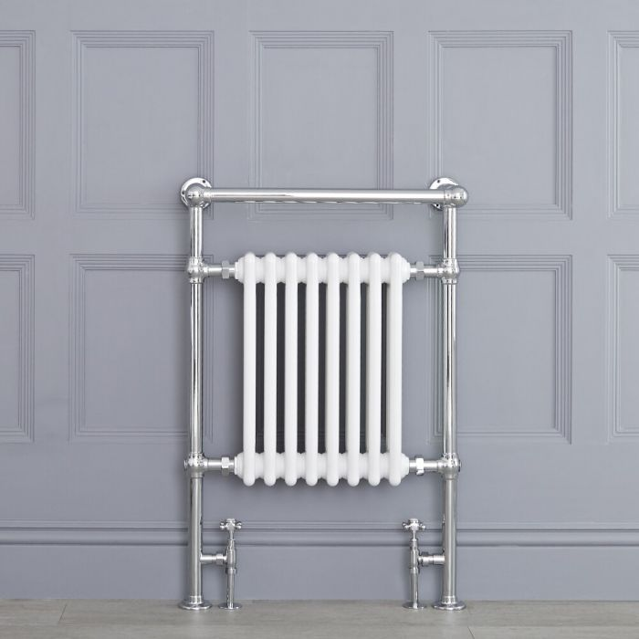 Radiatore Scaldasalviette Tradizionale - Cromato e Bianco - 930mm x 620mm x 230mm - 775 Watt - Avon