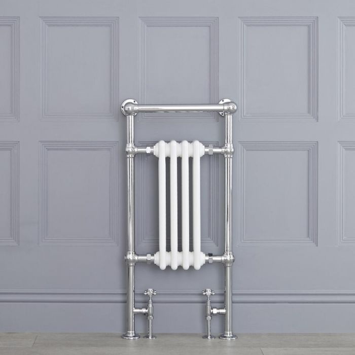 Radiatore Scaldasalviette Tradizionale Bianco - 930mm x 452mm (Barra Porta Salviette Angolare) - Avon