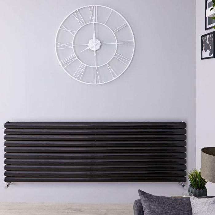 Radiatore di Design Orizzontale Doppio - Nero Lucido - 590mm x 1780mm x 78mm - 2066 Watt - Revive