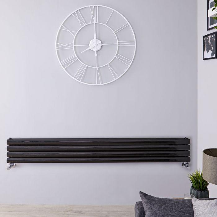 Radiatore di Design Orizzontale Doppio - Nero Lucido - 236mm x 1780mm x 78mm - 921 Watt - Revive