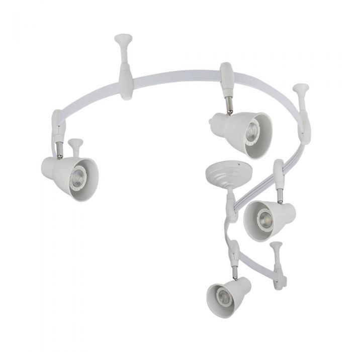 Biard Kit Completo di Binario Flessibile Monofase Bianco (2m) e 4 Faretti - Panza