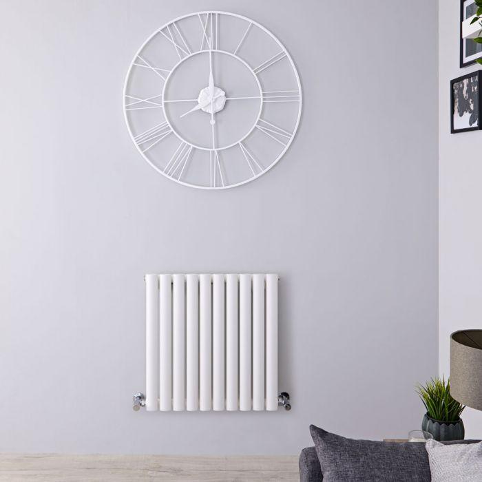Radiatore di Design Orizzontale - Bianco - 600mm x 595mm x 78mm - 558 Watt - Revive