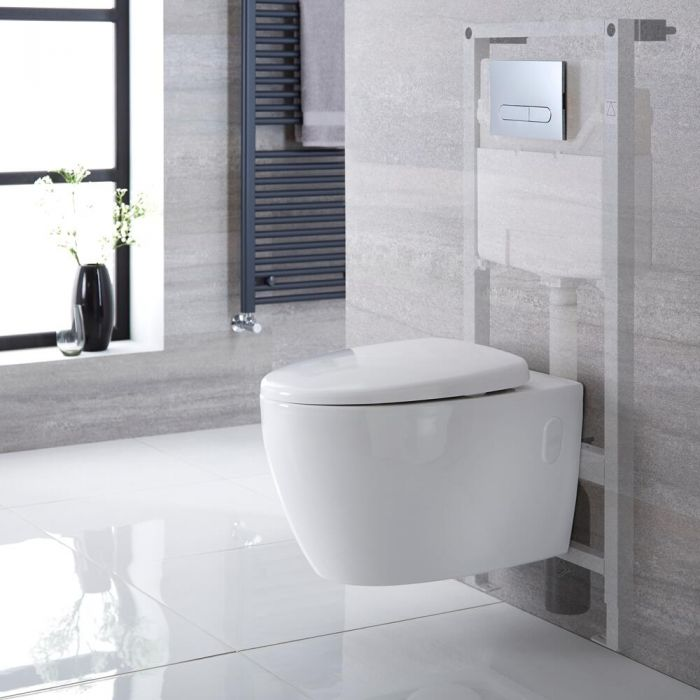 Sanitario Bagno WC Ovale Sospeso 610x420x480mm con Coprivaso, Telaio con Cassetta ad Incasso con Placca di Comando per WC A Doppio Pulsante -  Kenton