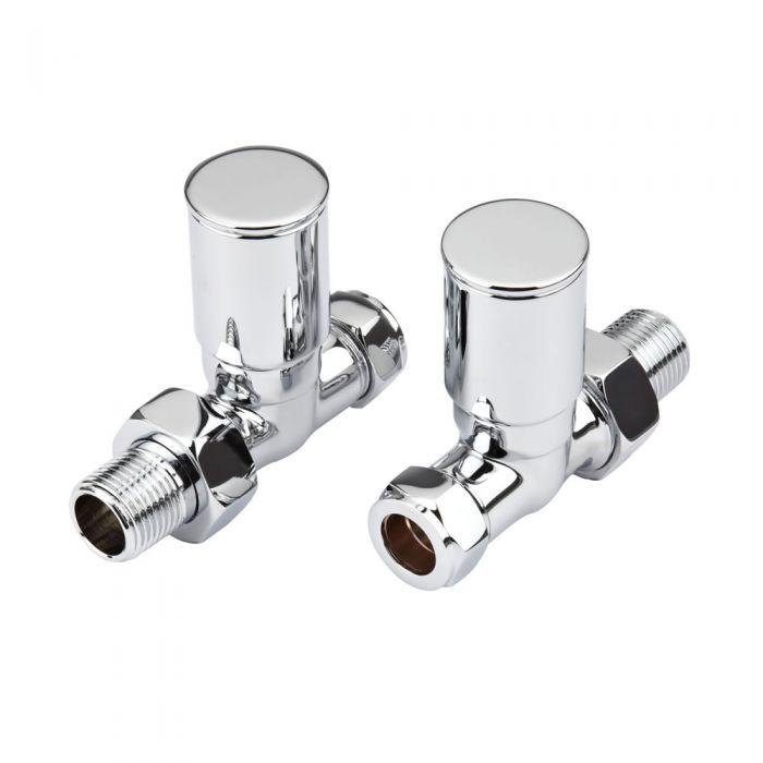 Paio di Valvole Manuali Minimaliste Diritte Per Radiatore e Scaldasalviette per Tubi in Rame 15mm