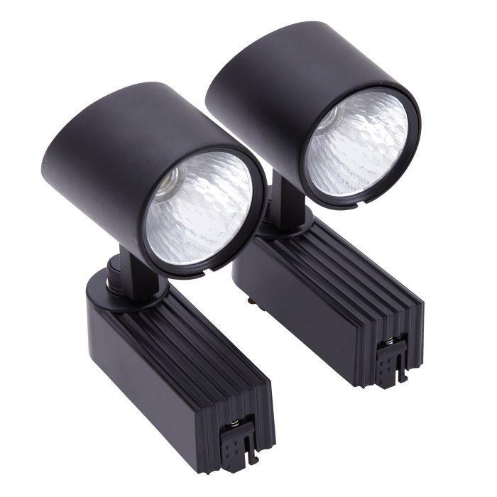 Biard 2 Faretti Spot LED COB 7W per Binario in Nero