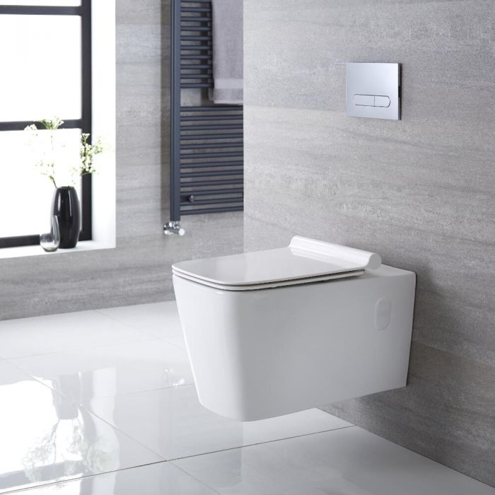 Sanitario Bagno WC Quadrato Sospeso 360x345x570mm con Sedile Copri WC Soft Close -  Sandford
