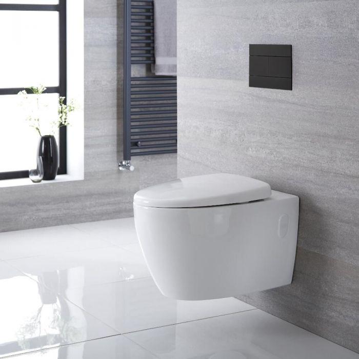 Sanitario Bagno WC Ovale Sospeso Rimless 360x385x580mm con Sedile Copri WC Soft Close  - Kenton