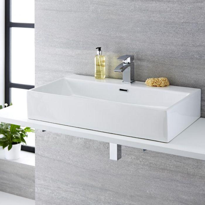 Lavabo Bagno da Appoggio in Ceramica Rettangolare 750x420mm - Sandford