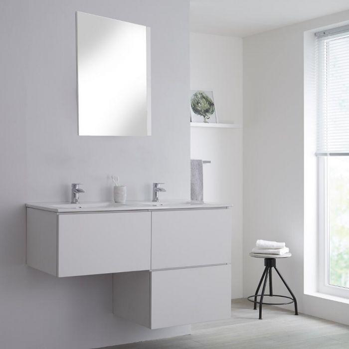 Mobile Base Sottolavabo Colore Bianco Opaco Sospeso 1200mm per Lavabo da Appoggio a Forma L con Lavabo da Appoggio con Opzione LED - Newington