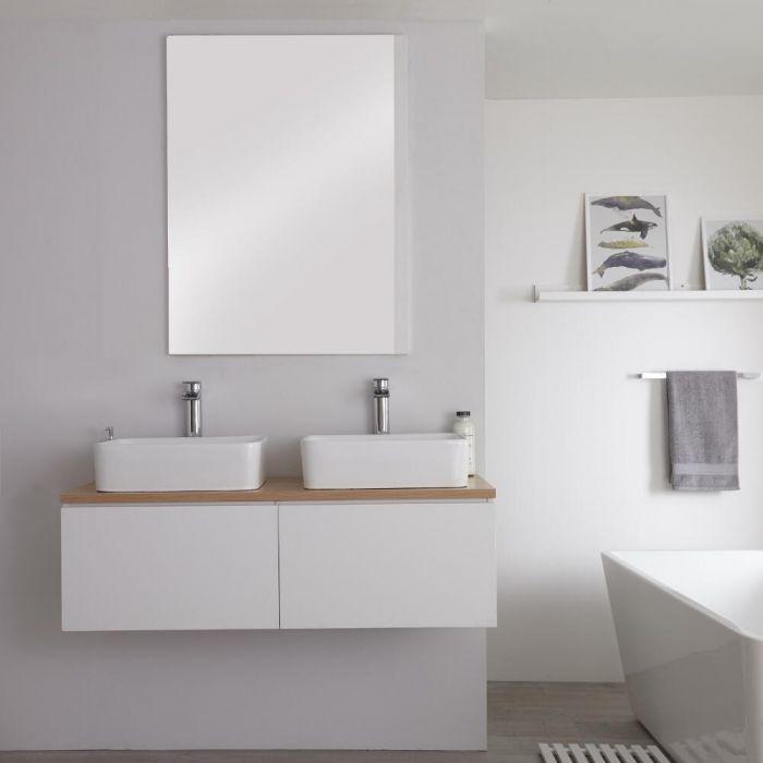 Mobile Base Sottolavabo Colore Bianco Opaco Sospeso per Lavabo da Appoggio 1200mm con Top Rovere Dorato e Opzione LED con 2 Lavabi Rettangolari – Newington