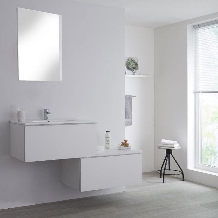 Mobile Base Sottolavabo Sospeso Colore Bianco Opaco con Design Ortogonale 1400mm con Top di Colore Bianco e Lavabo da Appoggio con Opzione LED- Newington