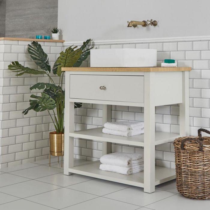 Mobile Bagno Tradizionale da 840mm Colore Bianco Antico con Lavabo da Appoggioda 360x360mm Quadrato e Top - Stratford