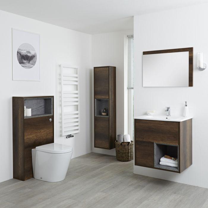 Set Bagno Colore Rovere Scuro Completo di Mobile Lavabo 600mm, Mobile Murale 1500mm,  Mobile WC, Specchio, Lavabo, Sanitario e Cassetta - Hoxton