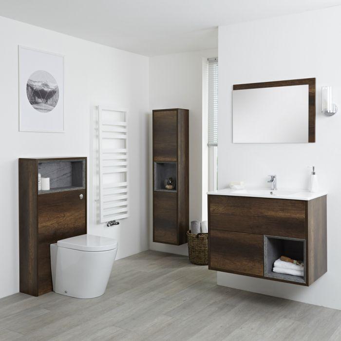 Set Bagno Colore Rovere Scuro Completo di Mobile Lavabo 800mm, Mobile Murale 1500mm,  Mobile WC, Specchio, Lavabo, Sanitario e Cassetta - Hoxton