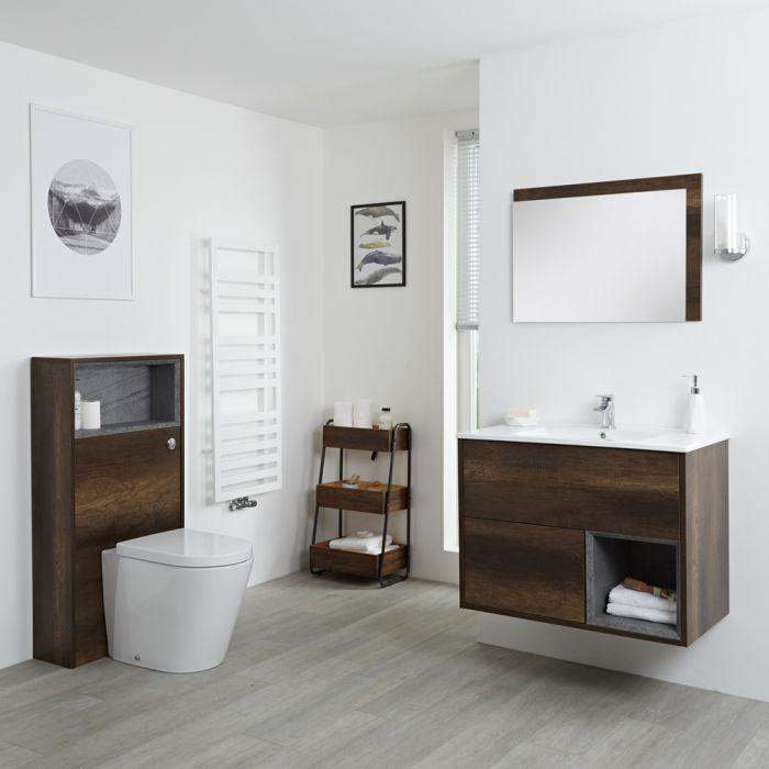 Set Bagno Completo di Mobile Lavabo 800mm e Mobile WC Colore Rovere Scuro con Design Completo di Lavabo e Sanitario - Hoxton