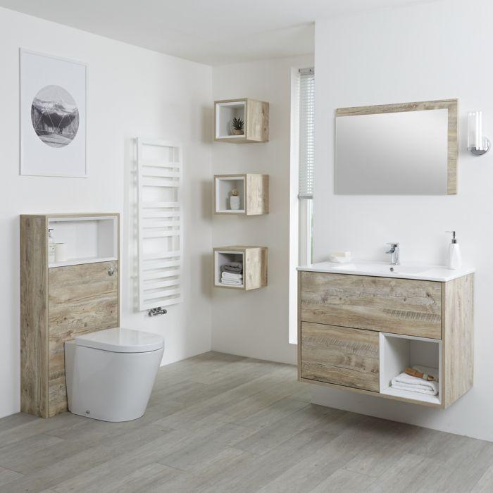 Set Bagno Completo di Mobile Lavabo 800mm e Mobile WC Colore Rovere Chiaro con Design Completo di Lavabo e Sanitario - Hoxton