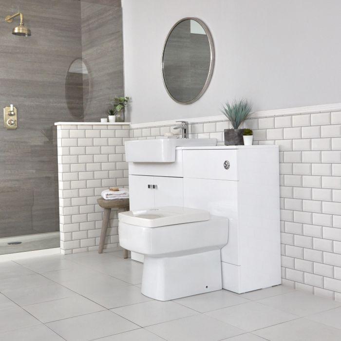Set Bagno Moderno da Terra Colore Bianco 1170mm con Mobile WC, Sanitario, Cassetta e Lavabo - Atticus