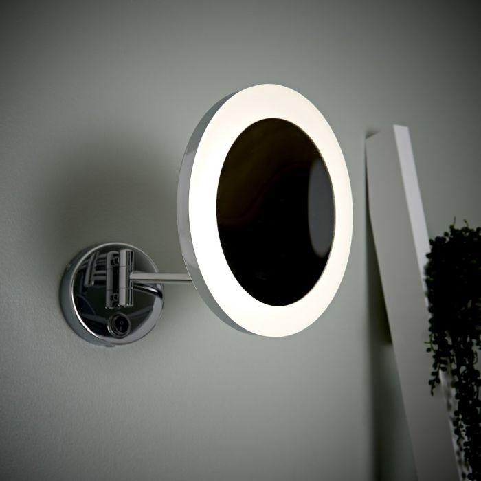 Specchio Ingranditore Bagno x3 LED Murale Tondo con Braccio - Monoun