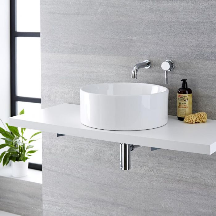 Lavabo Bagno da Appoggio Tondo in Ceramica 400x400mm con Rubinetto Miscelatore Murale - Covelly