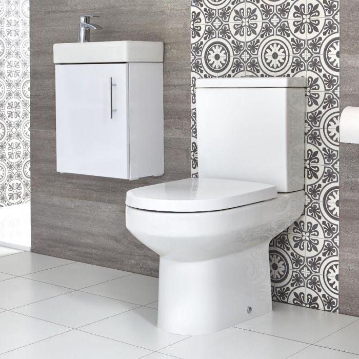 Sanitario WC Monoblocco e Mobile Bagno Sospeso con Lavabo 400mm Covelly - Diverse Finiture Disponibili