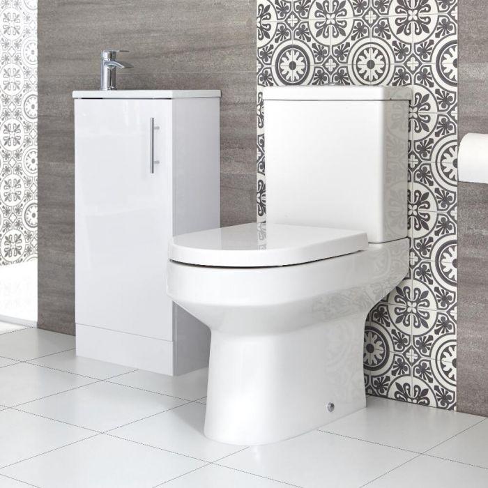Sanitario WC Monoblocco e Mobile Bagno da Terra con Lavabo Snello Covelly 400mm - Diverse Finiture Disponibili
