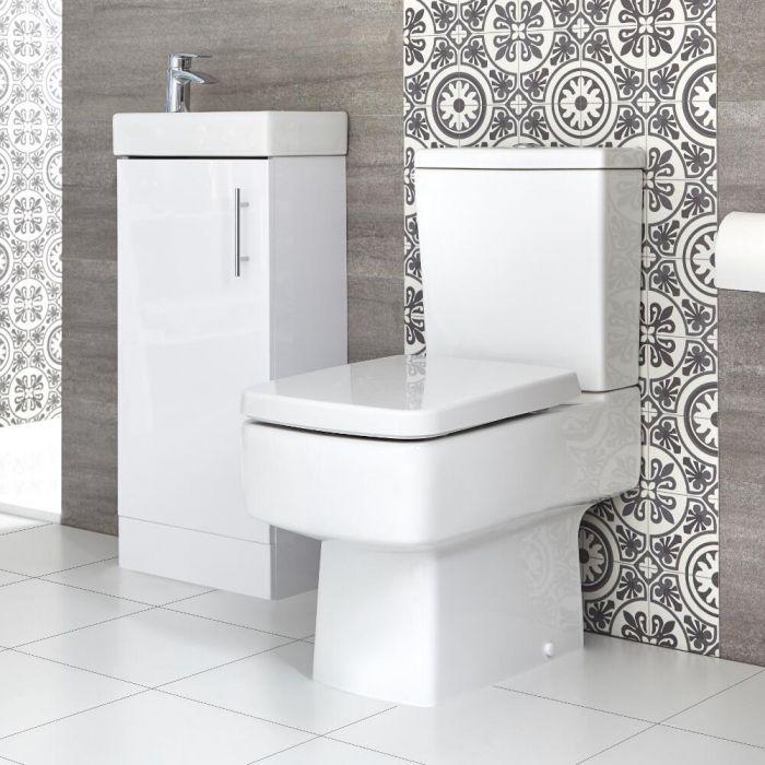 Sanitario WC Monoblocco e Mobile Bagno da Terra con Lavabo 400mm Exton - Diverse Finiture Disponibili