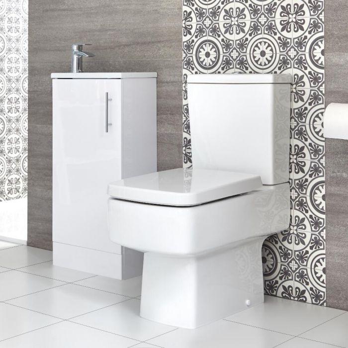 Sanitario WC Monoblocco e Mobile Bagno da Terra con Lavabo Snello Exton 400mm - Diverse Finiture Disponibili