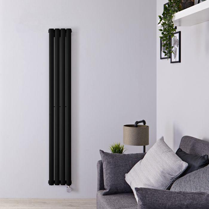 Radiatore di Design Elettrico Verticale - Nero Opaco - 1600mm x 236mm x 56mm - Elemento Termostatico 800W - Revive