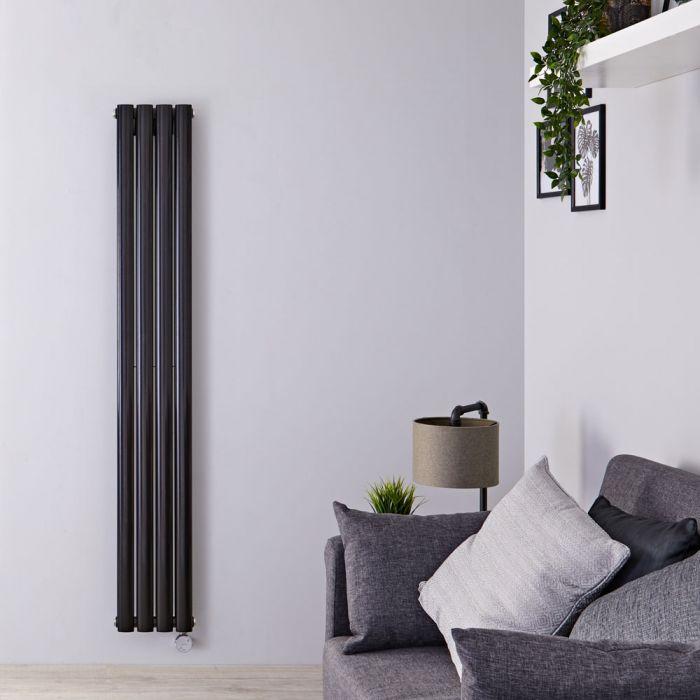 Radiatore di Design Elettrico Verticale Doppio - Nero Opaco - 1600mm x 236mm x 78mm - 1 Elemento Termostatico 1200W - Revive