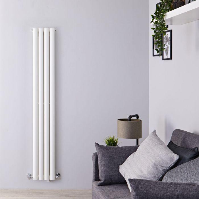 Radiatore di Design Verticale Doppio Salva-spazio - Bianco - 1600mm x 236mm x 78mm - 819 Watt - Revive Slim