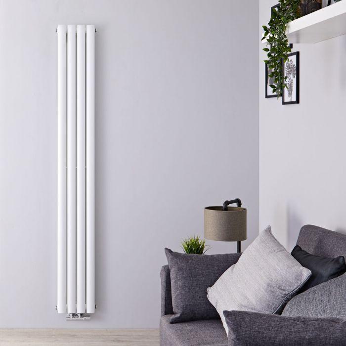 Radiatore di Design Verticale Doppio con Attacco Centrale - Bianco - 1600mm x 236mm x 78mm - 858 Watt - Revive Caldae