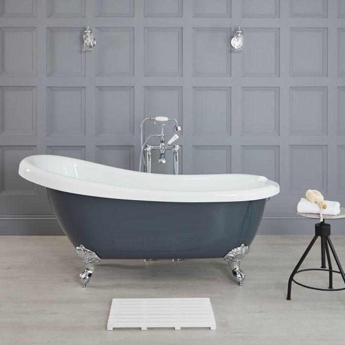 Vasca da Bagno Centro Stanza con Piedini Cromati 1710mmx740mm Colore Grigio Pietra Opaco - Elton
