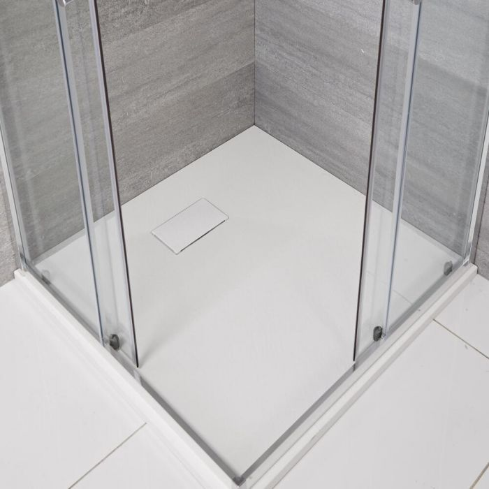 Piatto Doccia Quadrato Effetto Pietra Colore Bianco Opaco 900mm  - Rockwell