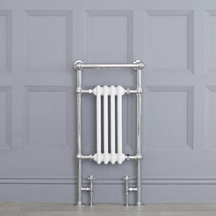 Radiatore Scaldasalviette Tradizionale Bianco - 930mm x 452mm (Barra Porta Salviette Angolare) - Elizabeth