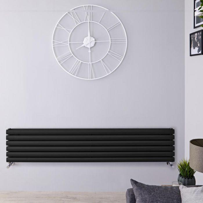 Radiatore di Design Orizzontale Doppio - Nero Opaco - 354mm x 1780mm x 78mm - 1325 Watt - Revive