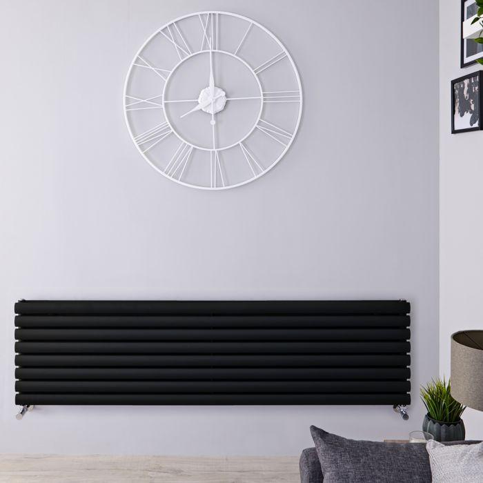 Radiatore di Design Orizzontale Doppio - Nero Opaco - 472mm x 1780mm x 78mm - 1798 Watt - Revive