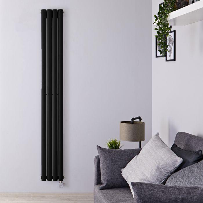 Radiatore di Design Elettrico Verticale - Nero Opaco - 1780mm x 236mm x 56mm - Elemento Termostatico 800W - Revive