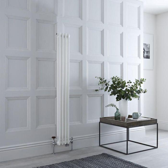 Radiatore Tradizionale Misto Verticale Regent Doppio - Bianco - 1500mm x 200mm - Disponibile con Opzione WiFi