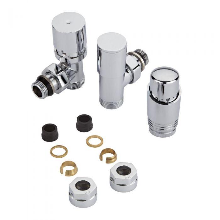 Coppia di Valvole per Radiatori e Scaldasalviette con Testa Termostatica Cromata e Adattatori per Tubi in Rame 15mm