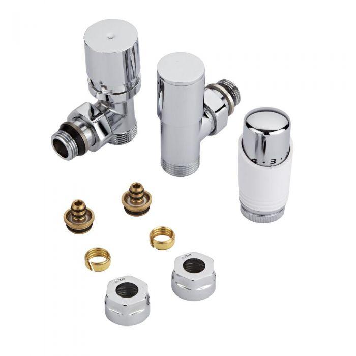 Coppia di Valvole per Radiatori e Scaldasalviette con Testa Termostatica e Adattator per Raccordi Pex o Multistrato 14mm