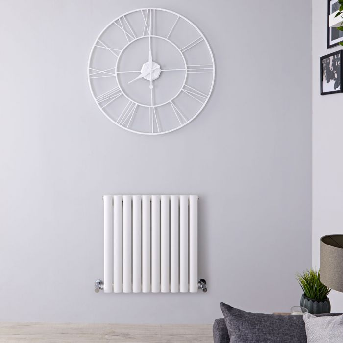Radiatore di Design Orizzontale - Bianco - 600mm x 595mm x 78mm - 558 Watt - Revive