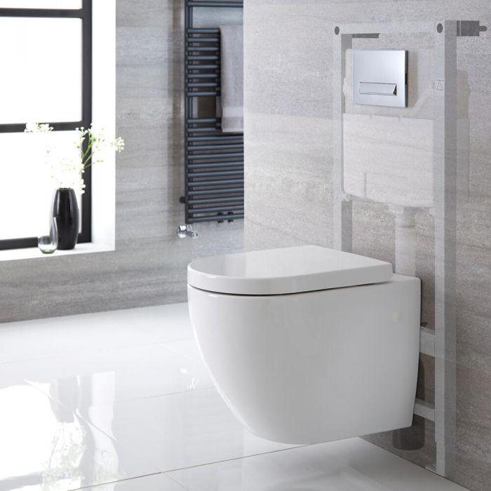 Sanitario Bagno WC Ovale Sospeso Completo di Coprivaso, Telaio Alto con Cassetta ad Incasso con Placca di Comando per WC A Doppio Pulsante -  Ashbury